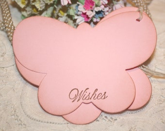 Baby Shower Wish Tree Tags - Pink Butterflies -  Birthday Wish Tags - Set of 12