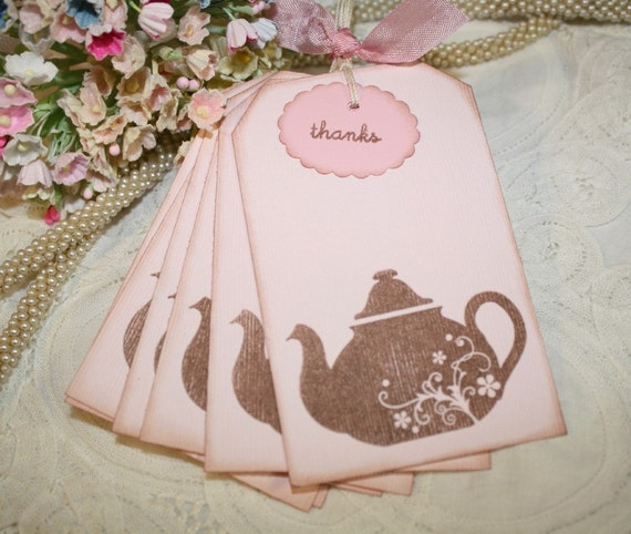 Thank You Gift Tags - Teapots in Pink