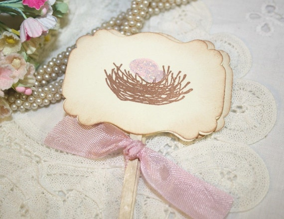 Bird Nest with Pink Eggs - Baby - Cupcake Toppers - Food Picks - Set of 12