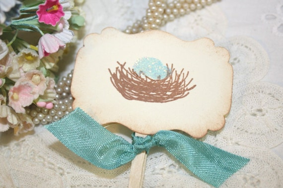 Bird Nest with Blue Eggs - Baby Boy - Cupcake Toppers - Food Picks - Set of 12