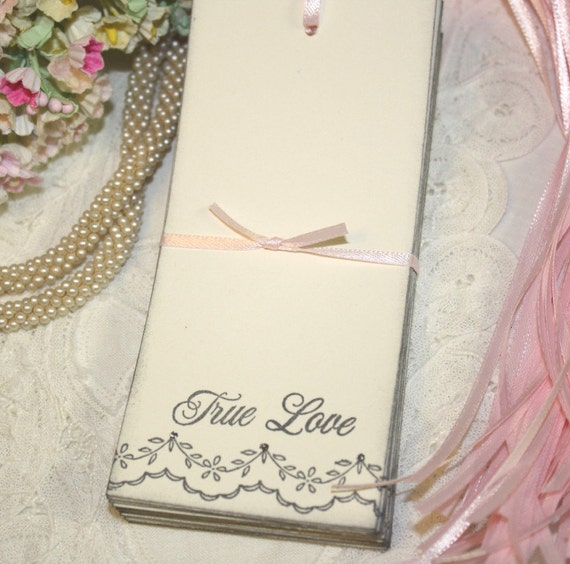 Wish Tree Wedding Tags - True Love - Vintage Lace - Soft Gray and Silver - Set of 25