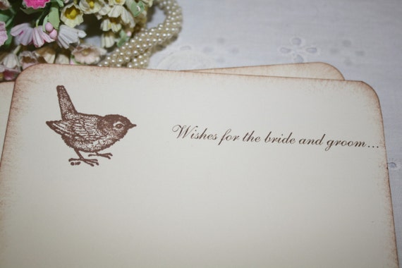 Wedding Wish Cards - Sweet Bird - Wishes for Bride and Groom - Set of 25