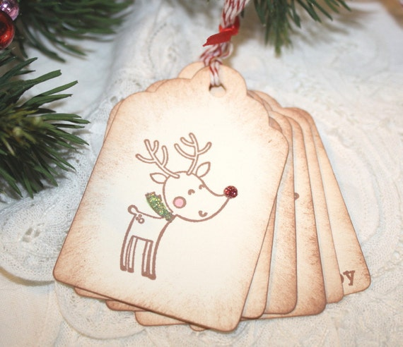 Christmas Gift Tags - Assorted Glittered Images