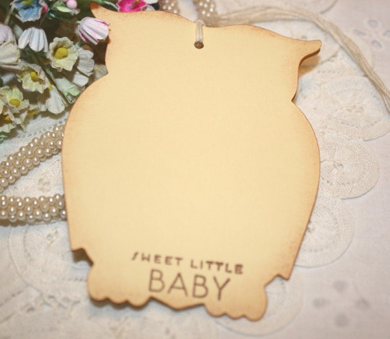 Baby Shower Wish Tree Tags  - Neutral Baby - Yellow Owls -  Set of 12