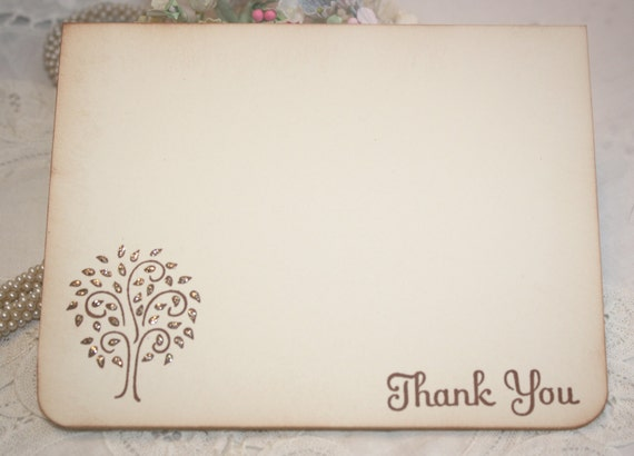 Wedding - Thank You Cards - Shower Thank You Cards - Glittered Tree - Set of 12
