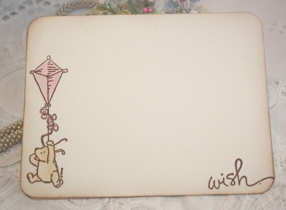 Baby Shower Wish Cards - Classic Winnie the Pooh - Pink Kite - Girl -  Set of 12