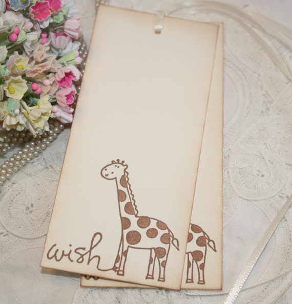 baby shower wish tree tags giraffe image jungle neutral boy or