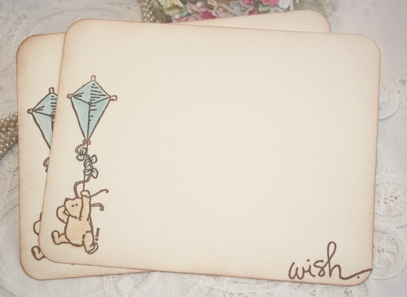 Baby Shower Wish Cards - Classic Winnie the Pooh - Blue Kite - Boy -  Set of 12