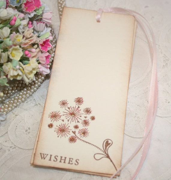 Wish Tree Wedding Tags - Glittered Dandelion -  Pink Glitter - Favor Tags - Guest Book Alternative - Set of 25