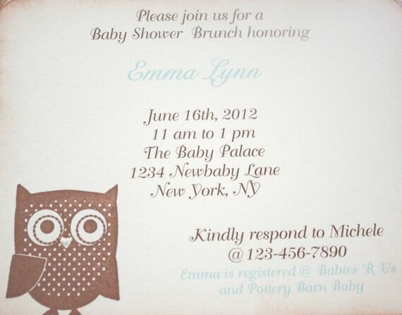 Baby Shower Invitation - Birthday - Custom Invitation -  Blue Owl - Baby Boy - Christening