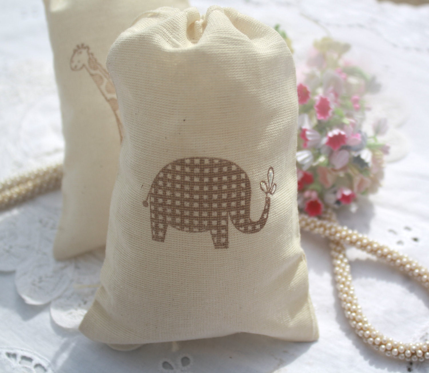 muslin drawstring favor bags baby shower wedding
