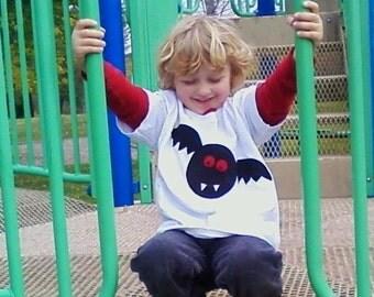 Vampire Bat Tshirt Pieced Fabric AppliqueTshirt Infant Baby Toddler  6m, 12 month, 12m, 18 month, 18m, 2T, 3T, 4T