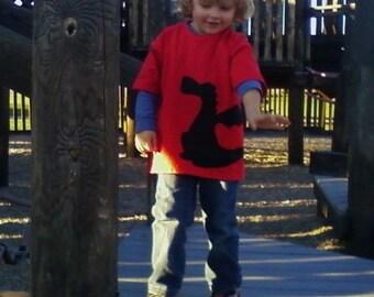 Dragon Red Tshirt Wrap Around Fabric Applique Youth Child Kids XSmall 4 5, Small 6 7, Medium 8 10, Large 12 14, XLarge 16 18