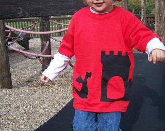Dragon and Castle Wrap Around Fabric Applique Tshirt  Toddler Baby Infant 6m, 12m, 18m, 2T, 3T, 4T