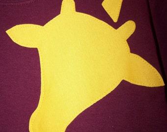 Giraffe Tshirt Wrap Around Fabric Applique Youth Child Kids XSmall 4 5, Small 6 7, Medium 8 10, Large 12 14, XLarge 16 18