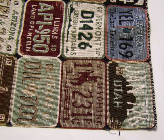 License Plate Tapestry Upholstery Fabric Remnant