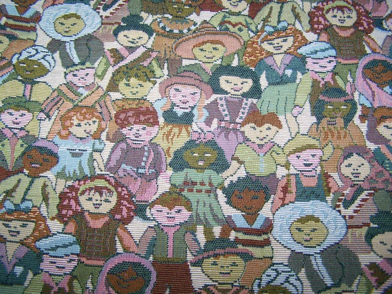 Sale children of the world tapestry upholstery fabric remnant for Children of the world fabric
