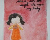 She's Not An Angel original handpainted watercolor