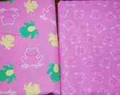 Pink Yellow Green Frog Fabric 1 yard Boutique