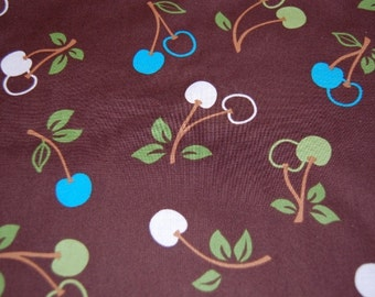 Kaufman Metro Market Brown Cherry Fabric 1 yard FALL Boutique