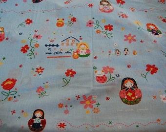 Boutique Euro Catimini Petrouchka Matryoshka Russian Doll Fabric 1/2 yard Kawaii Half Yard Japanese Import