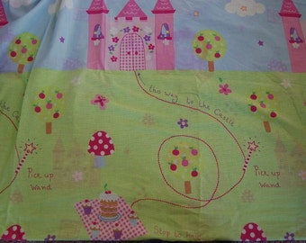 Kawaii Fairytale EURO Boutique Fairy Princess Castle Tea and Cupckaes Fabric 1 yard Unique