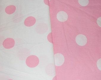 Euro Boutique Pink Jumbo Polka Dot Fabric 1 yard