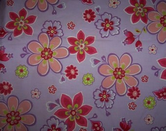 Euro Import Purple Floral Cotton Poplin Fabric 1 yard Hilco Stenzo VHTF OOP