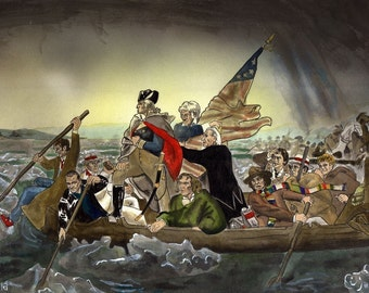 Whos Crossing the Delaware print- Doctor Who