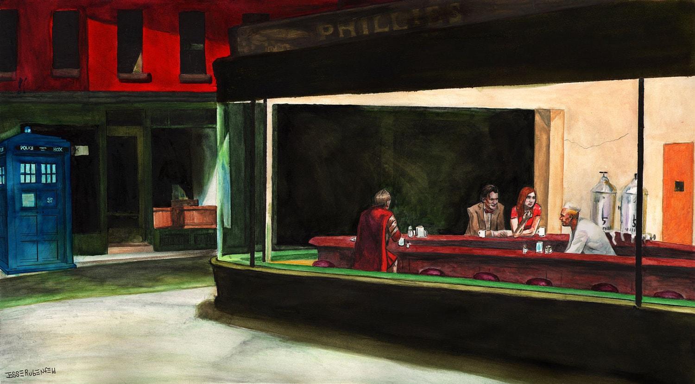 Night docs original painting for Diner artwork