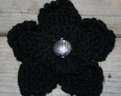 Black Knitted Flower Brooch with Silver Chunky Bead--READY TO SHIP--FREE SHIPPING--