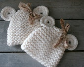 Twin Baby Bear Hat Set with Detachable Shabby Chic Bows in Cream