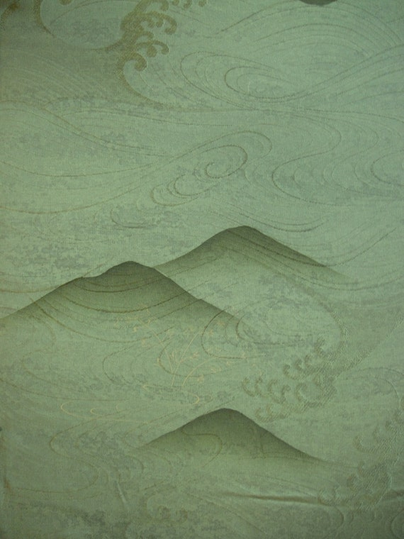 Silk japanese kimono fabric vintage tsunami over mountains sage green 62cm 24 in panel LAST ONE