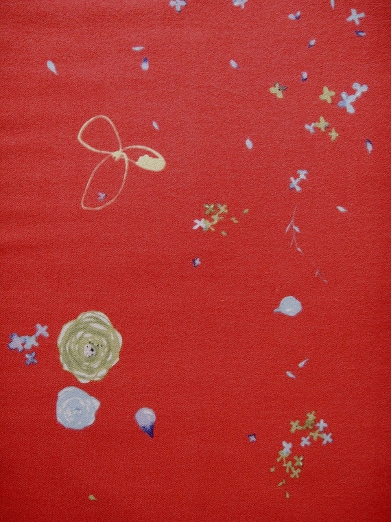 Brushed cotton fabric by nani IRO 2011 Fuwari Blue Lime Lavender on Persimmon. AUD26/m. Price per quarter meter
