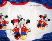 Mister and Miss Mouse on anchor appliqued on a red ringer tshirt children and adult sizes