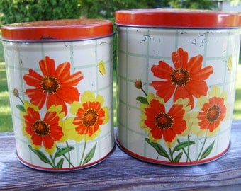 Red and Yellow Tin Nesting Canister Set
