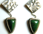 Funky Green Sterling Textured Earrings