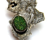 Reticulated Green Sparkly Druzy
