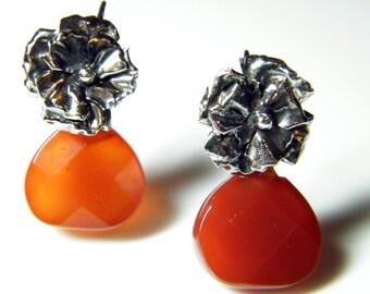 Orange Carnelian Flower Earrings