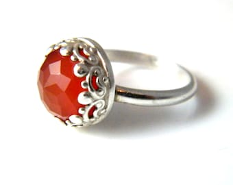 Beautiful Faceted Carnelian Ring
