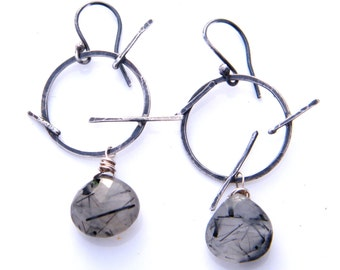 rutilated quartz briolette earrings - hoops black and white geometric circles and lines