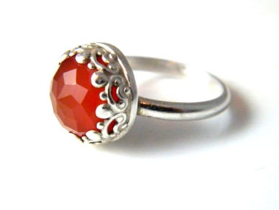 Beautiful Faceted Carnelian Ring