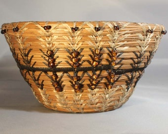 Pine Needle Basket with Brown Accents