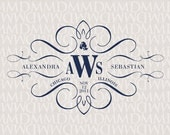 Elegance Calligraphy Custom Wedding Monogram - Wedding Logo - Wedding Crest