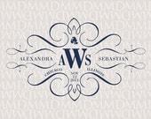 Elegance Calligraphy Custom Wedding Monogram - Wedding Logo - Wedding Crest