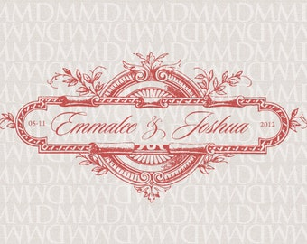 Victorian Emblem Wedding Monogram - Wedding Logo - Wedding Crest