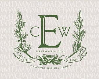 Noble Wreath and Ribbon Custom Wedding Monogram - Wedding Logo - Wedding Crest