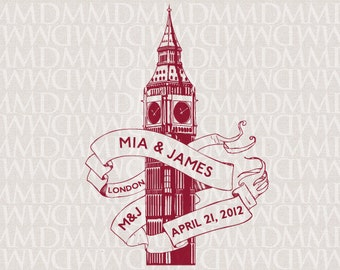 Big Ben London Custom City Wedding Monogram - Wedding Logo - Wedding Crest