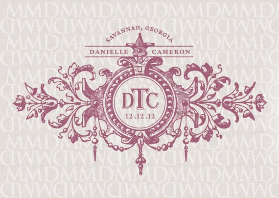 Fleur Wedding Custom Wedding Monogram - Wedding Logo - Wedding Crest