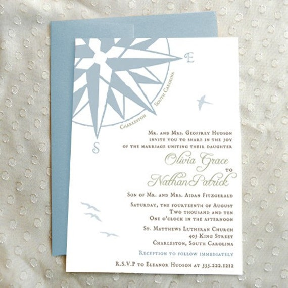 Compass Rose Charleston Wedding Invitation